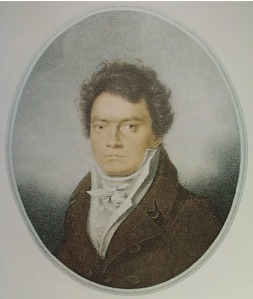 Ludwig van Beethoven as portrayed in 1814 at age 44