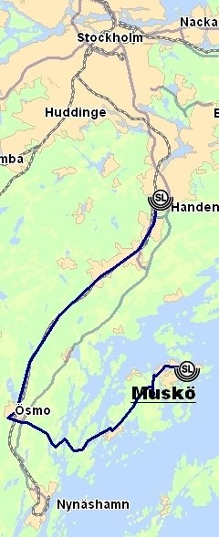 Bus route from Stockholm to Muskö